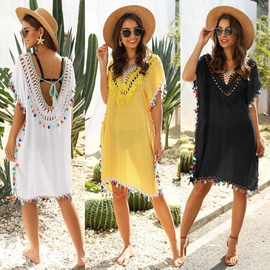 Irregular Stitching Colorful Tassels Sexy Backless V-neck Beach Sunscreen Blouse NSOY26787