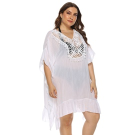 Plus Size Ruffled Irregular Beach Dress NSOY26789