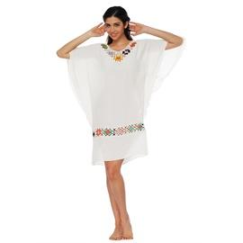 Cotton Stitching Crochet Flower Bat Sleeve Loose Skirt  NSOY26791