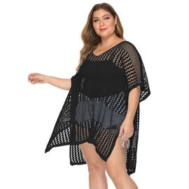 Plus Size Hollow Woven Irregular Split Beach Blouse  NSOY26792