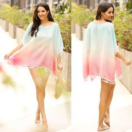 Stitching Fringed Sunscreen Beach Blouse  NSOY26794