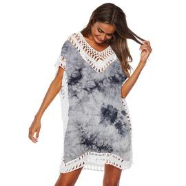 Popular Tie Dyeing Stitching V-neck Beach Dress NSOY26797