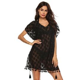 V-neck Three-dimensional Chiffon Tassel Stitching Beach Dress NSOY26800
