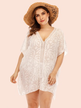 Plus Size Lace Stitching Chiffon Beach Blouse NSOY26846