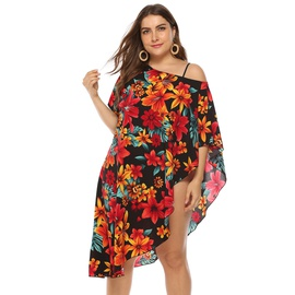 Plus Size Plant Printing Irregular Shoulder Beach Dress NSOY26861