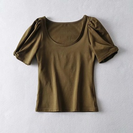 Puff Short Sleeve Solid Color Short T-shirt  NSHS34254