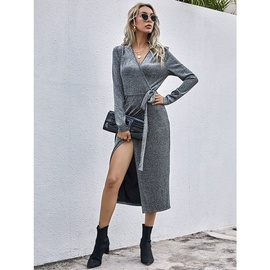 Solid Color Retro V-neck Knitted Dress NSSA34312