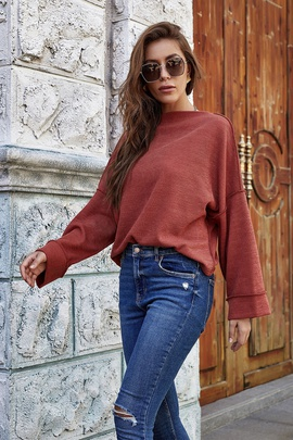 Fashion Solid Color Long-sleeved Knit Pit Top NSLM34352