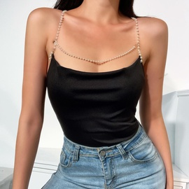 Sexy Slim Backless Pearl Sling Vest NSSU35426