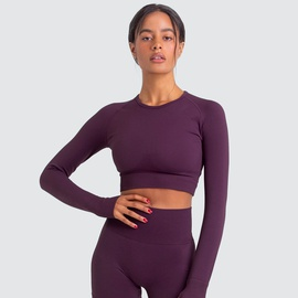 Knitted Solid Color Seamless Sports Two-piece Suit NSNS35561