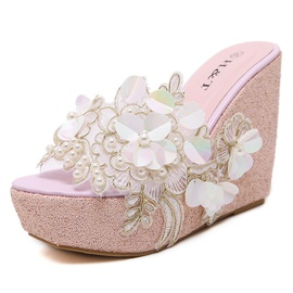 Sweet Beaded Flowers Transparent Wedge Slippers NSCA35621