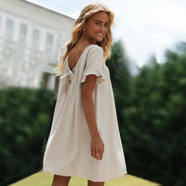 Back Knotted Lotus Leaf Sleeve Cotton And Linen Dress NSHZ35700