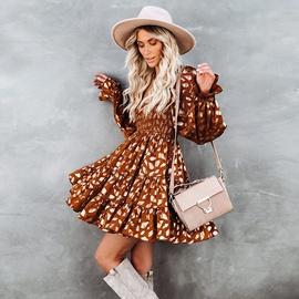 Fashion Lantern Sleeve High Waist Big Swing Dress  NSHZ35702