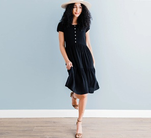 Short-sleeved Solid Color Dress  NSHZ35705