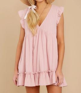 A-line Sleeveless V-neck Solid Color Dress NSHZ35712