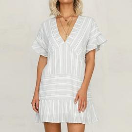 Sexy V-neck Striped Short-sleeved Dress NSHZ35718