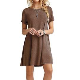 Short-sleeved Solid Color Dress  NSHZ35723