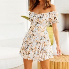 Off-shoulder Printed Short Dress  NSHZ35724