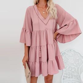 Flounce Loose Solid Color Dress NSHZ35728