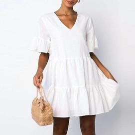 Solid Color V-neck Short-sleeved Pleated Dress  NSHZ35729