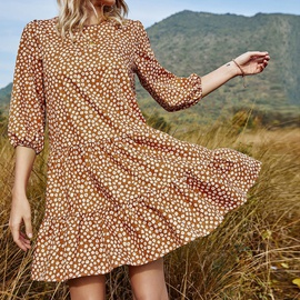 Round Neck Mid-sleeve Large Swing Floral Dress NSHZ35732