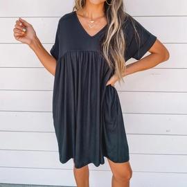 Casual Round Neck Short Sleeve Dress NSHZ35741