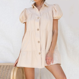 Casual Puff Sleeve Lapel Single Breasted Loose Dress NSHZ35743