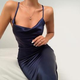 Long Solid Color Slim Sling Dress NSHZ35746