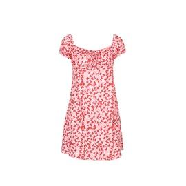 Short Sleeve Ruffled Slim Body Wrapped Floral Dress NSHZ35747