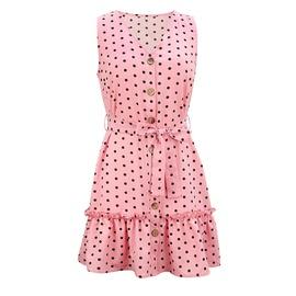 V-neck Polka Dot Casual Tie Sleeveless Dress NSHZ35750