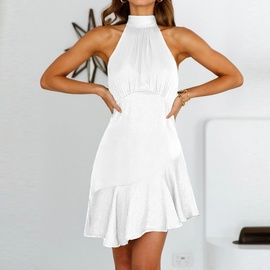 Sexy High Waist Halter Pure Color Irregular Dress NSHZ35757