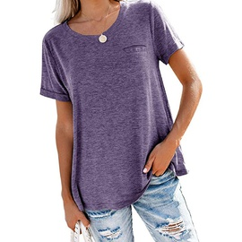 Round Neck Pocket Loose Solid Color T-shirt NSHZ35764