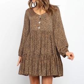 Leopard Printing Loose Smock Dress NSHZ35765