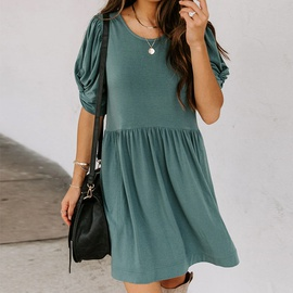 Loose Round Neck Short Sleeve Solid Color Dress NSHZ35766