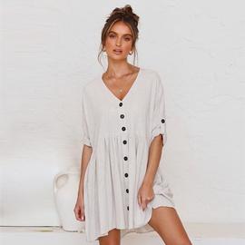 V-neck Buttoned Loose Fashion Dress NSHZ35767