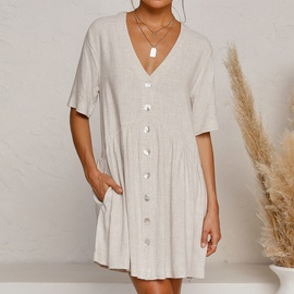 Solid Color V-neck Daily Casual Dress NSHZ35770