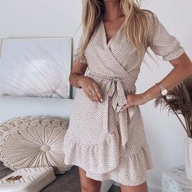 Bohemian Short V-neck Lace-up Slim Dress NSHZ35771