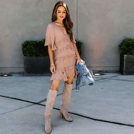 Solid Color Ruffled Mid-sleeve Loose V-neck Dress  NSHZ35776
