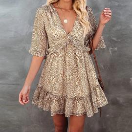 V-neck Leopard Print Short-sleeved Irregular Dress NSHZ35778