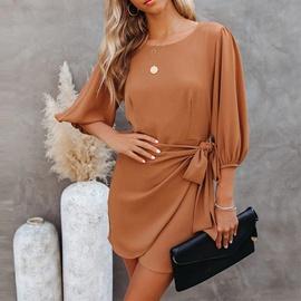 Solid Color Hedging High Waist Irregular Dress  NSHZ35779