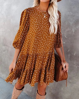 Chiffon Loose Wave Dot Hedging Dress  NSHZ35781