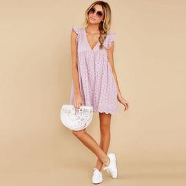 Casual V-neck Loose Lace Midi Dress  NSHZ35783
