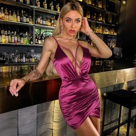 Sexy V-neck Satin Sling Short Dress NSWX35803