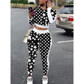 Star Print Loose Long Sleeve Trousers Casual Suit NSXS35819
