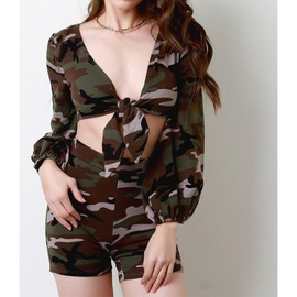 Camouflage Low-cut Sexy Tops Shorts Two-piece  NSXS35845