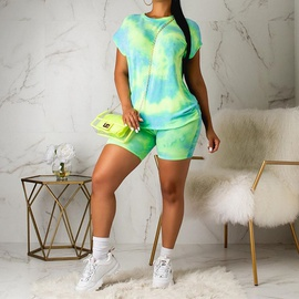 Casual Tie-dye Printed Home Service Suit   NSXS35847