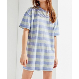 Loose Round Neck Striped Print Short Sleeve Dress  NSXS35869