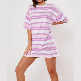Loose Casual Mid-length Striped Short-sleeved Dress  NSXS35870
