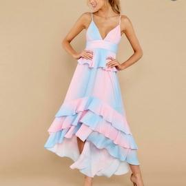 Gradient Printing Ruffled Sling Dress  NSXS35875