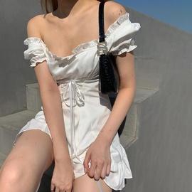 Fashion Square Neck Puff Sleeve Slim Dress  NSJS35904